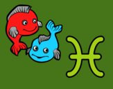 Coloring page Pisces horoscope painted bymerryyummy