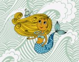 Coloring page Mermaid with a small boat painted byCharlotte