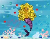 Coloring page Mermaid with curls painted byCharlotte