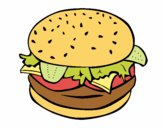 Coloring page Hamburger with everything painted byJeff