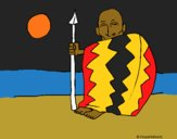 Coloring page Angolan chief painted byCharlotte