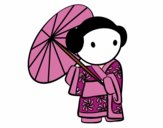 Coloring page Geisha with lady's umbrella painted byJennifer