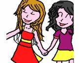 Girls shaking hands