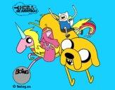 Jake, Finn, Princess Bubblegum and Rainbow Lady