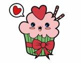 Coloring page Cupcake kawaii with tie painted byAzula