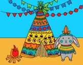 Coloring page Indian rabbit painted bymindella