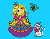 Coloring page Princess with cat and butterfly  painted bymindella