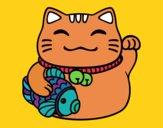 Coloring page Maneki-neko abundance painted bymindella