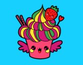 Coloring page Cupcake kawaii with strawberry painted bymindella