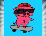 Graffiti the pig on a skateboard