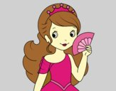Coloring page Princess and Hand fan painted byAnia