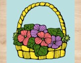 Coloring page Basket of flowers 6 painted byLaLaLandie