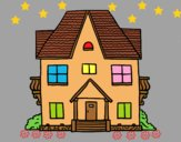 Coloring page House with balconies painted byAnia