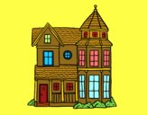 Coloring page Classical manor house painted bysumu