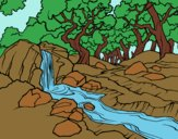 Coloring page Forest landscape with a river painted byAnia