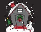 Coloring page christmas card painted bycolors