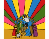 Coloring page nativity scene painted byCherokeeGl