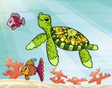 Coloring page Sea turtle with fish painted byKendall