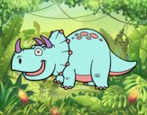 Coloring page Triceratops Dinosaur painted bysophia
