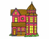 Coloring page Classical manor house painted bybianca