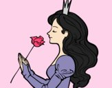 Coloring page Princess and rose painted byAnia