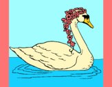 Coloring page Swan with flowers painted byAnia