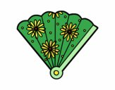 Coloring page Spanish hand fan painted byKhaos