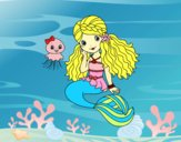 Coloring page Mermaid and jellyfish painted bysamg