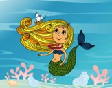 Coloring page Mermaid with a small boat painted bysamg