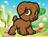 Coloring page Happy puppy painted byAnia