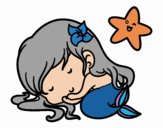 Coloring page Little mermaid chibi sleeping painted byKhaos006