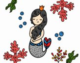 Coloring page Queen mermaid painted byKhaos006