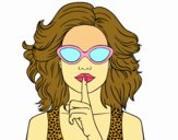Coloring page Girl with sunglasses painted byyoyo