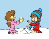Coloring page Girls playing with snow painted bylorna