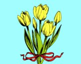 Coloring page Tulips with a bow painted bylorna
