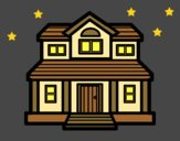 Coloring page Victorian house painted bylorna