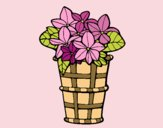 Coloring page Basket of flowers 3 painted bylorna