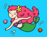 Coloring page A Happy Mermaid painted bySant