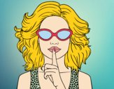 Coloring page Girl with sunglasses painted bybbbb