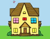 Coloring page House with balconies painted bylorna
