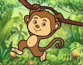 Coloring page Monkey hanging from a branch painted bylorna