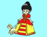 Coloring page Princess with puppy painted bylorna