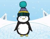 Coloring page Penguin with winter cap painted bySamantha