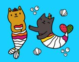 Coloring page Mermaid cats painted byBritt