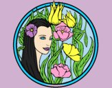 Coloring page Princess of the forest 3 painted bylorna