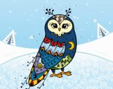 Coloring page Winter Barn owl painted bybbbb