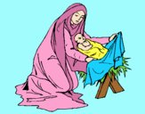 Coloring page Birth of baby Jesus painted bylorna