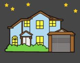 Coloring page Detached house painted byLornaAnia