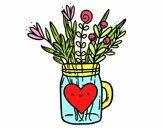 Pot with wild flowers and a heart