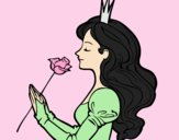Coloring page Princess and rose painted byLornaAnia